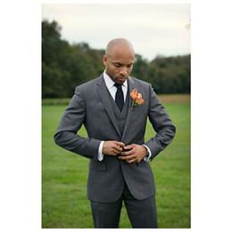 Beige Slim Suits For Men Australia - Dark Gray Wedding Mens Suits 2019 Slim Fit Harringbone Bridegroom Tuxedos For Men Two Pieces Formal Busines suits (Jacket+Pants+Tie+Vest)