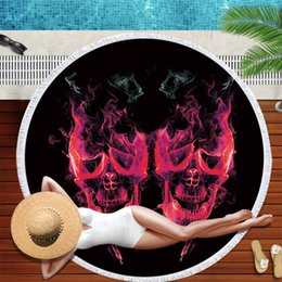 Discount rooms tapestries - Flame Skull Pattern Printing Round Beach Towel 150*150 Microfiber Tassel Living Room Wall Hanging Tapestry Plush Yoga Ma