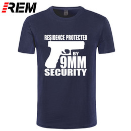 Protect Games Australia - REM Men's T Shirts Fashion Game Pistol RESIDENCE PROTECTED BY 9MM SECURITY Letter Funny Print Cotton T Shirt Men