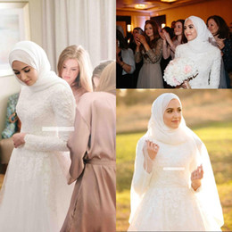 $enCountryForm.capitalKeyWord Australia - Fashion Long Sleeve Muslim Wedding Dresses with Lace Appliques A Line Tulle Bridal Gown robe de mariee Vintage A Line Wedding Guess Gowns