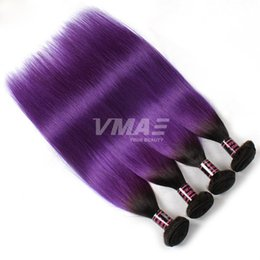 $enCountryForm.capitalKeyWord NZ - Purple Straight human virgin Hair Weaves 3 Bundles Lot Two Tone Ombre Color 1B Purple violet Brazilian Human Hair weft Extensions