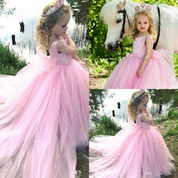 $enCountryForm.capitalKeyWord Australia - Pink Tulle Flowers Girls Dresses Jewel Puffy Princess Pageant Country Gowns For Wedding Evening Bridesmaid Dress First Communion Gown
