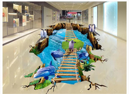 $enCountryForm.capitalKeyWord Australia - customized 3D self-adhesive floor painting wall paper Mall 3D underwater world ice snow dolphins penguin waterproof floor painting