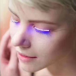$enCountryForm.capitalKeyWord Australia - LED Eyelashes Eyelid False Eyelashes LED Halloween Light Eye Lash Luminous Shining Eyelash for Party Bar Makeup Eye Lash Eyelid