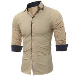 Dark Color Shirt Men Australia - Brand 2019 Fashion Male Shirt Long-sleeves Tops Classic Dark Throttle Hit Color Side Mens Dress Shirts Slim Men Shirt