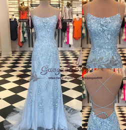 $enCountryForm.capitalKeyWord Canada - 2019 real light sky blue sexy Evening Dresses with 3D Floral lace Appliques Criss Cross Straps Prom Dresses Latest Party Gown Design SD993