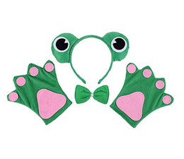 China Fairy Tale Frog Headband Bow Tie Gloves Set Kids Animal hairband Paws Necktie Party Cosplay Halloween Costume Fancy Dress Props green Favor supplier gloves fancy dress suppliers