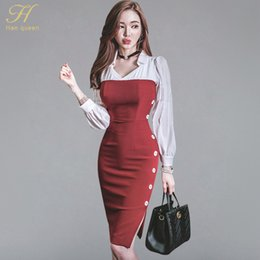 c00b1b784c79 H Han Queen 2018 New Arrive Shirt Patchwork Strapess Bodycon Dress Women  Autumn Winter Sheath Pencil Dresses Korean Slim Vestido