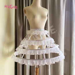 $enCountryForm.capitalKeyWord Australia - Hugne Short 3 Hoop Lolita Petticoat White Black Crinoline Gothic Petticoat Underskirt for Woman