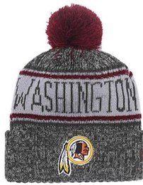 $enCountryForm.capitalKeyWord NZ - NEW Striped Sideline Design American Sport Cuffed Knit Hat Wool Bonnet Cheap Beanie Hip Hop WAS Redskins Knitted Skull Cap for Men Women 04