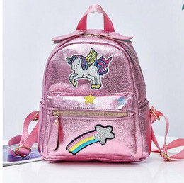 rainbow canvas prints Canada - 2019 New Women Backpack Teenager Girl Fashion School Bags Children Small Cartoon Rainbow Embroidery Anime Softback Bag
