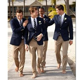 plus size navy blue suit Australia - New Navy Blue Slim Fit Men's Jacket and Champagne Pants Notched Two Buttons Groomsmen Tuxedos Tailor Man's Prom Suits Sets