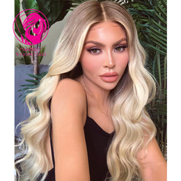 Blonde Long Wavy Human Hair Wigs Australia - Fantasy Ombre Blonde Full Lace Human Hair Wigs Pretty Wavy Brazilian Remy Hair Pre Plucked Middle Part Lace Wig for White Women
