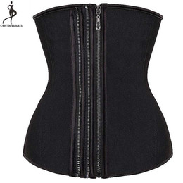 plus size steel boning corset Australia - Zipper Underbust Corset Latex Waist Trainer Plus Size 6XL Black Waist Slimming Cincher Steel Boned Adjustable Size Bustier Korse