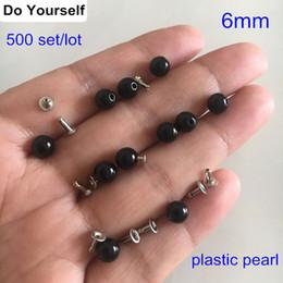 $enCountryForm.capitalKeyWord Australia - 500 sets Round Black Pearl Rivet Studs 6mm Pearl Rivet Spikes For Clothing,Leather Decoration,Plastic Pearl Rivet