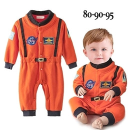 space suits costumes NZ - Baby Boys Clothes Orange Embroidery Space Suit Baby Costumes Newborn Baby Boy Romper Astronaut Clothes Long Sleeve Jumpsuit J190710