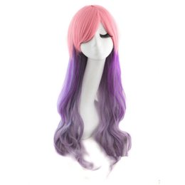 Wholesale 01799 Fashion Long Wavy Full Pink Purple Mixed Cosplay Anime Party wig