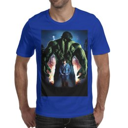 hulk printed t shirts Canada - The Incredible Hulk poster Big city explosion Men T-Shirts Crew Neck Short-Sleeve Tees Tops blue