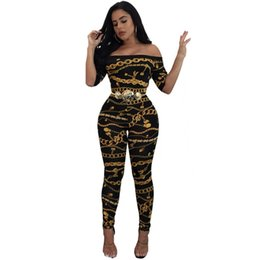 shoulder overall jumpsuits women NZ - Sexy Women Off Shoulder Jumpsuits Chain Print Short Sleeve Slim Bodycon Rompers Long Pants 2019 Female Slash Neck Overalls Black