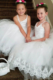 $enCountryForm.capitalKeyWord NZ - Ball Gown Flower Girls Dresses Puffy Tulle lace cap sleeves Open Back Cheap Girls Pageant Dresses for Gothic kid wedding gowns