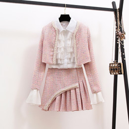 Wholesale tweed winter jacket for sale – winter New Autumn Winter Fashion Ladies Suits Elegant Ruffles White Blouses Beaded Short Jackets Tweeds Mini Skirts Women Set