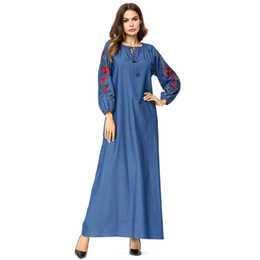 175c18f2722 Women Dresses Casual Denim Floral embroidery Maxi Long Dress Spring 2019 long  Sleeve Dress Brief Elegant Plus Size