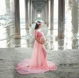 photography props flooring Canada - pregnancy clothes maternity photography props shoulder off front split floor length maxi gown for pregnant women shooting photo