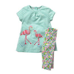 $enCountryForm.capitalKeyWord NZ - Jumping Meters Applique Flamingo Baby Clothing Sets For 2-7t Girls Clothes Summer Cotton Stripe 2 Pcs Set Hot Selling Suits Girl Y190522