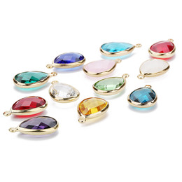 $enCountryForm.capitalKeyWord Australia - Women Glass Crystal Bead Teardrop Copper Loose Beads Connector for Charm Choker Bracelet Earrings Necklace DIY Jewelry Making Findings