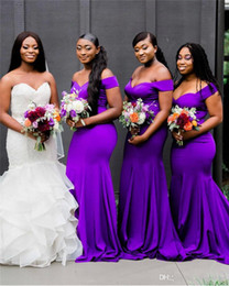 Plus Size Wedding Dresses Dark Purple Australia - South African Purple Bridesmaids Dresses Nigeria Girls Elegant Off Shoulder Mermaid Plus Size Wedding Guest Gowns Long Maid of Honor Wear