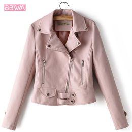 $enCountryForm.capitalKeyWord Australia - Pink PU Long Sleeve Lapel Zipper Motorcycle Women's Jacket 2019 Winter New Korean Slim Female Jacket Black Red Top High Street