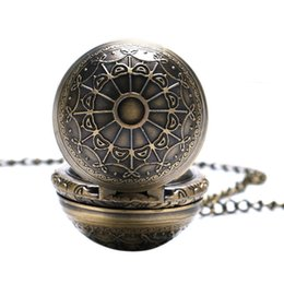 Small Clocks Watch UK - Bronze Spider Web Design Small Size Ball Shape Pocket Watch Men Harri Potter Necklace Birthday Gift Clock Reloj De Bolsillo