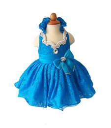 $enCountryForm.capitalKeyWord UK - Baby Girls Lace Halter Pageant Cupcake Dress Princess Crystal Bow Birthday Party Short Gowns For Infant Special Occasion