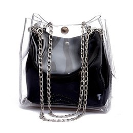 fashion women plastic bag Canada - Designer handbags Women Small Bucket Bags Plastic Transparent Totes Composite Chain Bag Female Laser Jelly Handbags