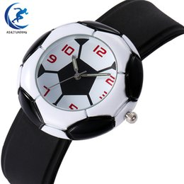quartz cups UK - Football World Cup Soccer Pattern Quartz Watch Girls Boys Sport Wristwatches Football Soft Waterproof Watch Gifts For Kids Teens