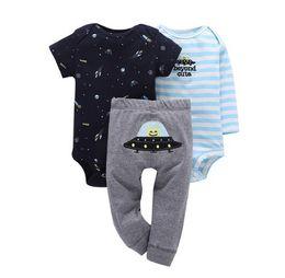 $enCountryForm.capitalKeyWord UK - Newborn set 3PCS infant Baby Clothing suit cotton long sleeve o-neck rompers+pant toddler baby boy girl spring autumn outfits