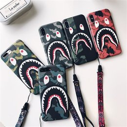 shark phone NZ - Shark Face Mouth Phone Case with Lanyard Fashion Pop Phone Protector For iPhone X Xr Xs Max 147