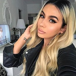 Root Color Wig Australia - New style body wave Ombre Color Wig Full Lace Human Hair Wig with Dark Black Roots 100% Brazilian Virgin Human Hair Blonde Wig