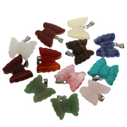necklace cube UK - Natural crystal stone agate semi-precious stone 12 assorted colors butterfly set pendant necklace