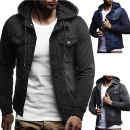 Wholesale jacket demin for sale - Group buy Mens Coat Mens Autumn Winter Hooded Vintage Distressed Demin Jacket Tops Coat Outwear with Colors Asian Size M XL