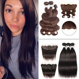 Brazilian hair lace frontal middle part online shopping - 3 Bundles With Lace Frontal Body Wave Straight Dark Brown Brazilian Virgin Hair Weave Bundles with x4 Ear to Ear Frontal MiddlePart