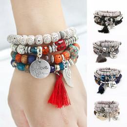 Ladies bangLes stones online shopping - Lady Girl Creative Boho Multilayer Natural Stone Bead Tassel Pendant Chain Calf Elephant Heart Shaped Bracelet Jewelry