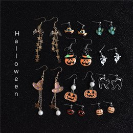 wholesale charms UK - Halloween New Funny Earrings Creative Pumpkin Pearl Earrings New exotic Charm Earring for Woman Party Favor