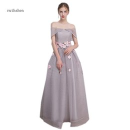wholesale 2018 Long Prom Dresses Simple A-line Evening Party Gowns Grey  Color Special Occasion Formal Dress Off The Shoulder b85842435143