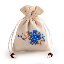 $enCountryForm.capitalKeyWord Australia - 11x15cm Handmade Drawstring Gifts Bags Wedding Party Favors Packaging Sack Pouches Ribbon Embroidered Plum Blossom Jewelry Pouch