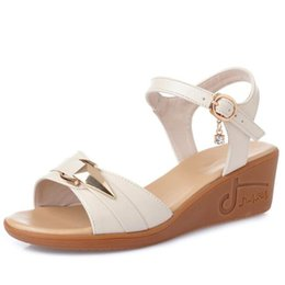 wedge leather sandals Canada - Summer Best Sale 2020 New Classic Fashion Genuine Leather Sandals Comfort Wedge Sandals Soft Bottom Women Sandals Large Size 43