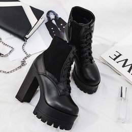 korean winter fashion boots UK - 2019 Korean autumn winter new fashion super high heel thick heel women's short boots waterproof platform thick bottom Martin boots