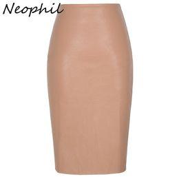 $enCountryForm.capitalKeyWord UK - Neophil 2019 Sexy Faux Fur Leather Pu Midi Women Pencil Skirts High Waist Black Ladies Office Wrap Stretch Jupe Femme Saia S1102 J190628