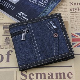$enCountryForm.capitalKeyWord Australia - 2019 Vintage Dark Blue Jeans Canvas Men Wallet Coin Pocket Short Design Wallet Coin Purse Zipper Card Holder For Men Wallets NZC-014