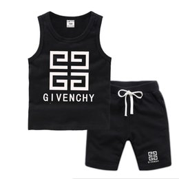 sleeveless suit for kids Australia - Brand Logo Luxury Designer Kids Clothing Sets Summer Baby Clothes Print for Boys Outfits Toddler Fashion T-shirt Shorts Children Suits 666